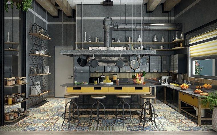 cucine stile industriale-tocchi-colore | Houses | Pinterest ...