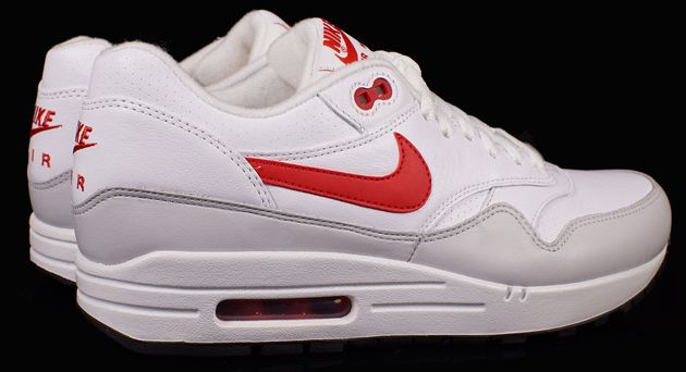 big sale d584d 95248 Nike Air Max 1 Leather White   University Red Neutral Grey
