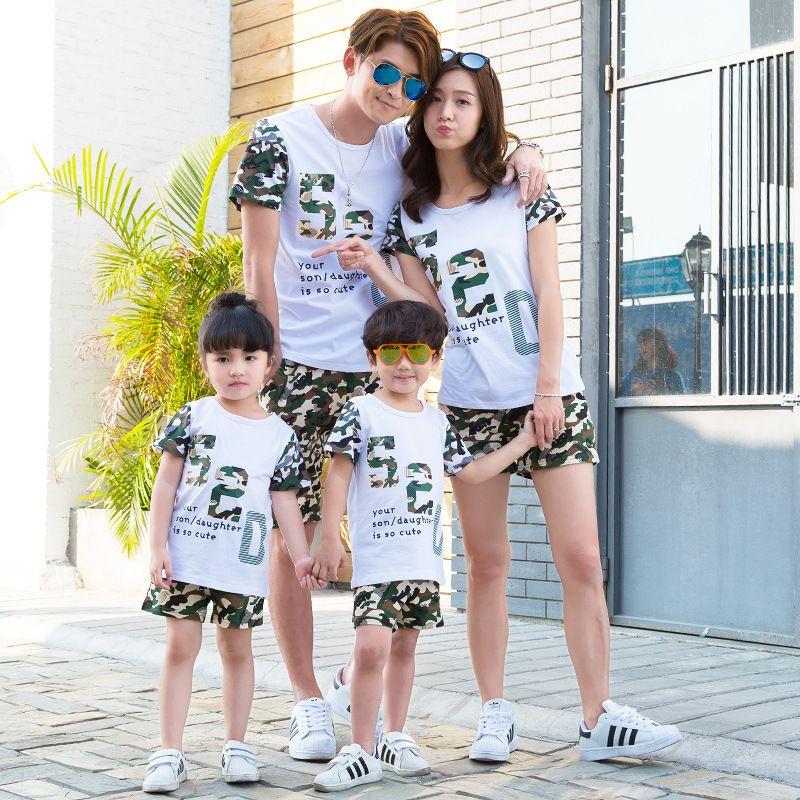56e254e4e3 Sport family matching outfit Mother and daughter clothes father and son big  sister and little brothers T-shirt an shorts