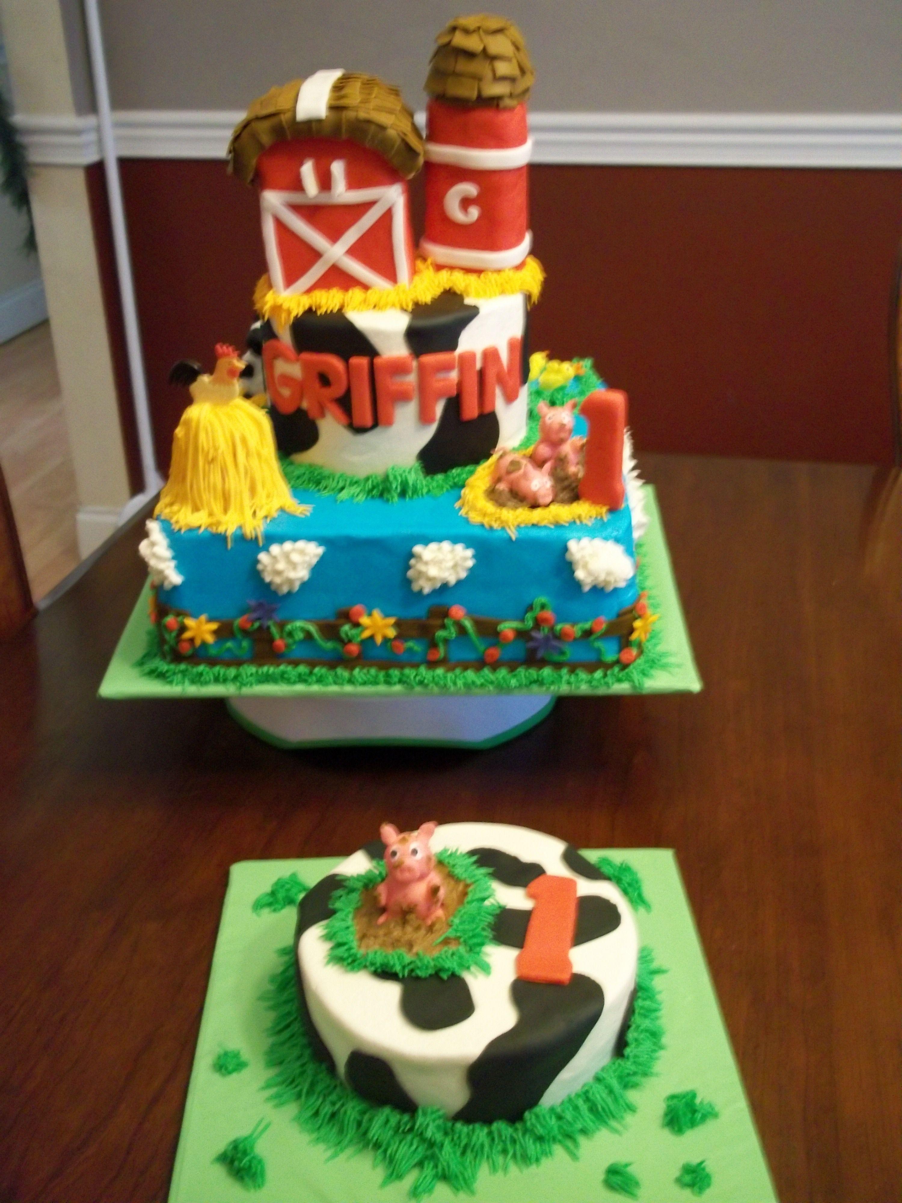 Cake Decoration Farm Theme : 2 tier Farm theme First birthday cake My Cakes ...