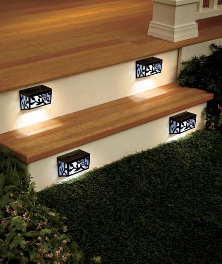 Solar Step Or Railing Lights Set Of 4 Butterfly Motif On/Off Switch Deck  Walkway