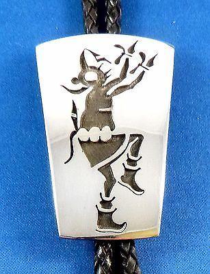 HOPI BOLO SIGNED Dawn Lucas Mudhead ceremonial dancer Sterling silver bola tie