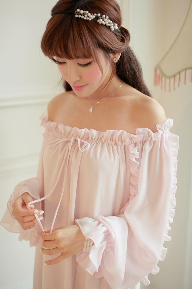 Nightdress For Women Vintage Nightgowns Princess Sleeping Home Dress Lady  Chiffon Sleepwear Nightgown Long Sleeve Lounge Ruffles-in Nightgowns    Sleepshirts ... 2a9c396c5