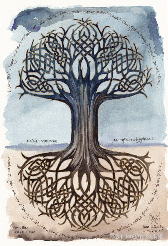 Odins Runesong print, 12x16 in. giclee of watercolor calligraphy poem, tree of life/YGGDRASIL/etsy  jocelynsinkwell