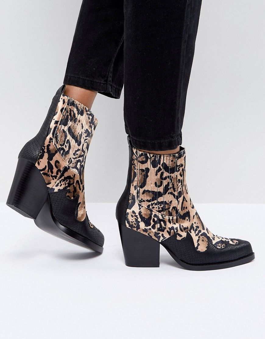 0cfc5dd84d7 PrettyLittleThing Leopard Print Western Ankle Boot - Multi