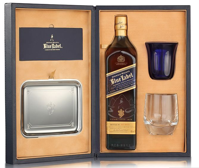 Johnnie Walker Blue Label Gift Set In Wood Box Mixing