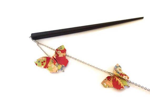 Pic à chignon origami pique à cheveux papillons origami