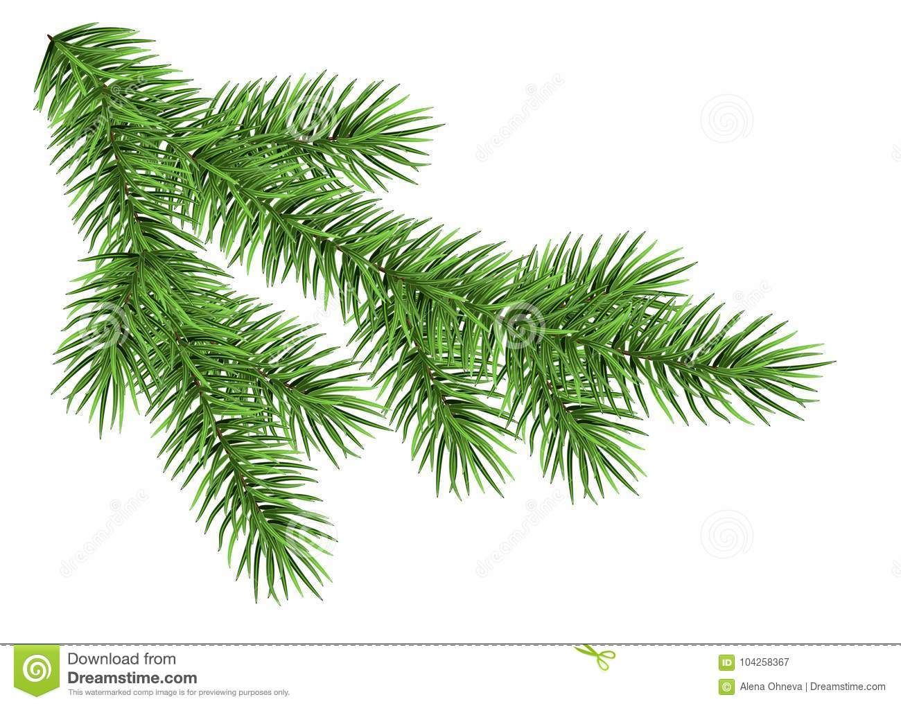 Illustration About Spruce Branch Isolated On White Background Green Fir Realistic Christmas Realistic Christmas Trees Christmas Tree Branches Winter Drawings