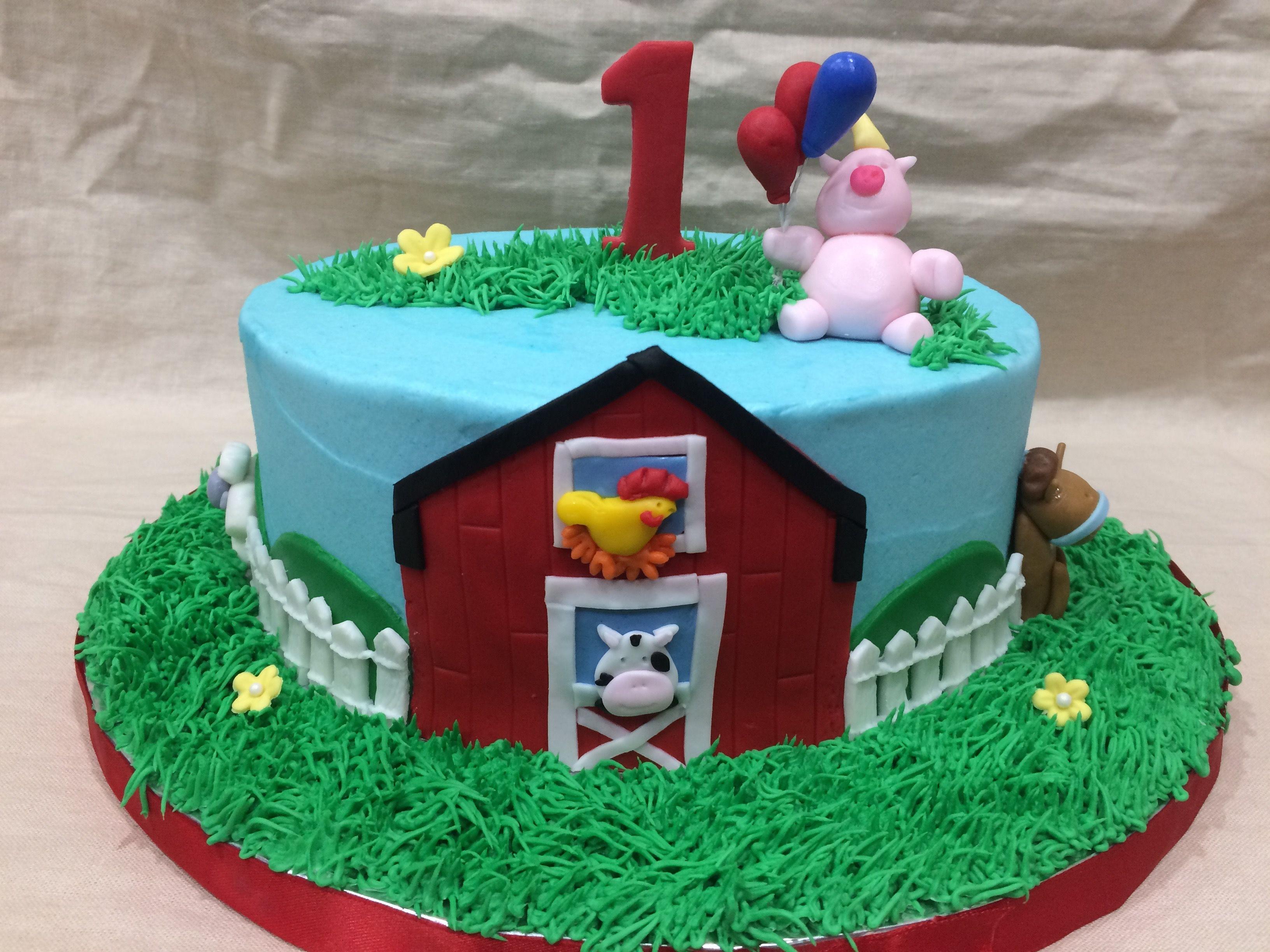 farmhouse fun 1st birthday cake cake decorating pinterest