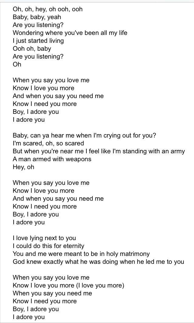 Ooh Baby I Need You In My Life Lyrics : lyrics, Adore, Miley, Cyrus, Lyrics,