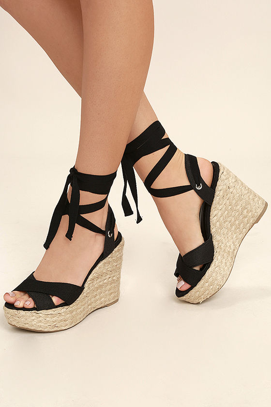 946ebe4f511 Lulus | Esme Black Lace-Up Espadrille Wedges | Size 6 in 2019 | warm ...