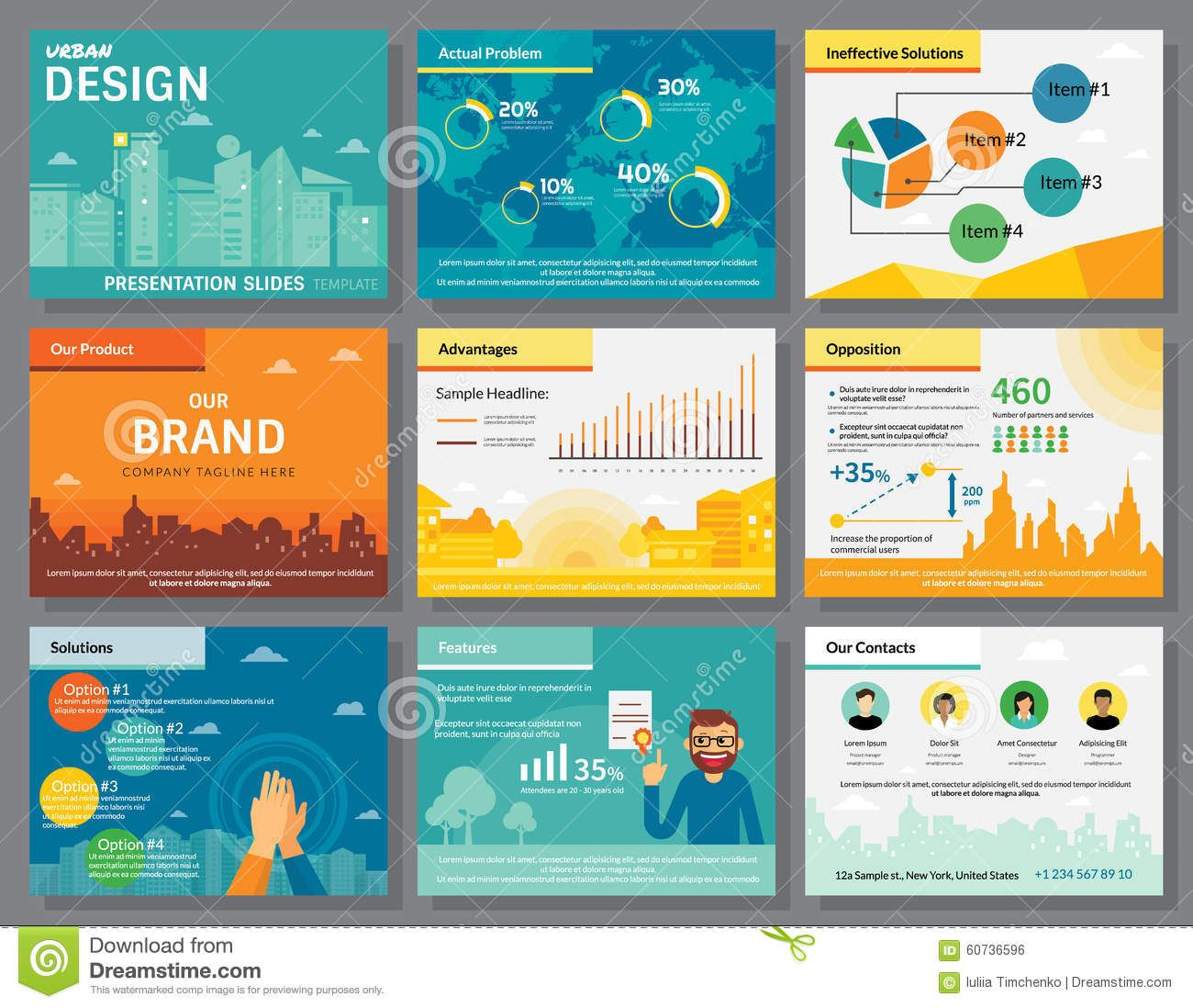presentation slides template infographics stock vector image