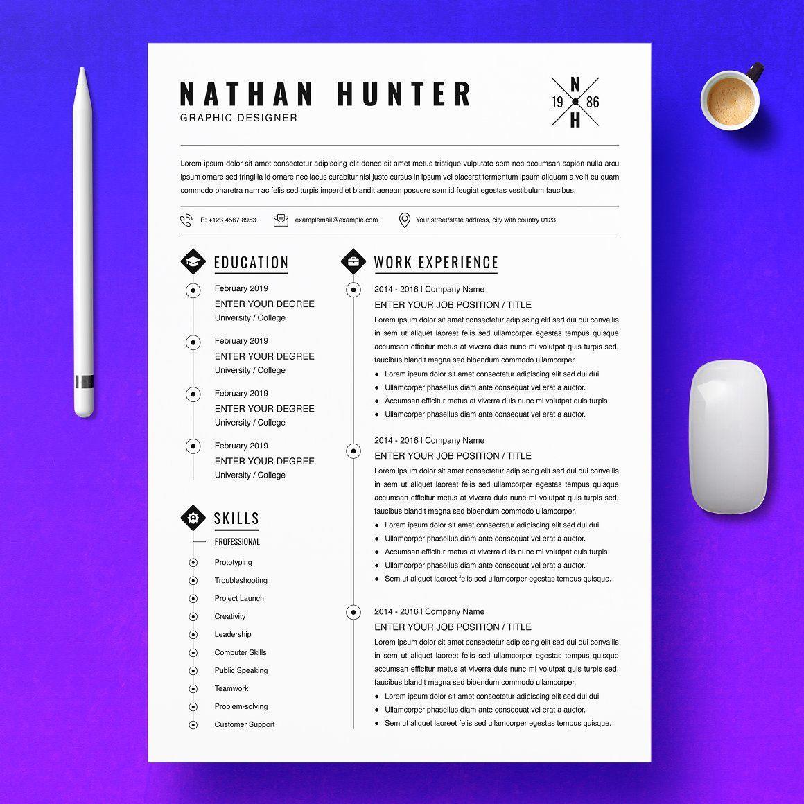 Graphic Designer Resume, InDesign CV. It is easily