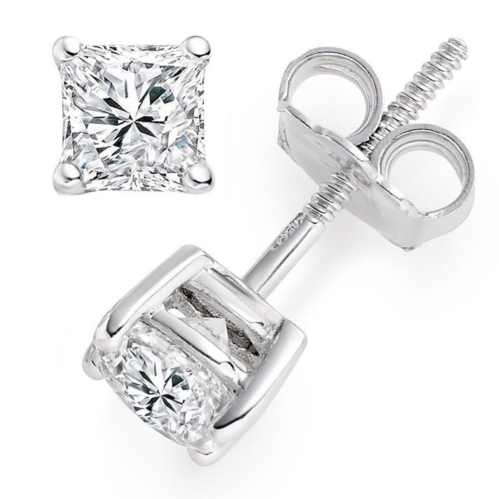 Diamond 1 Ct Princess Cut Solitaire Stud Earrings Solid 14K