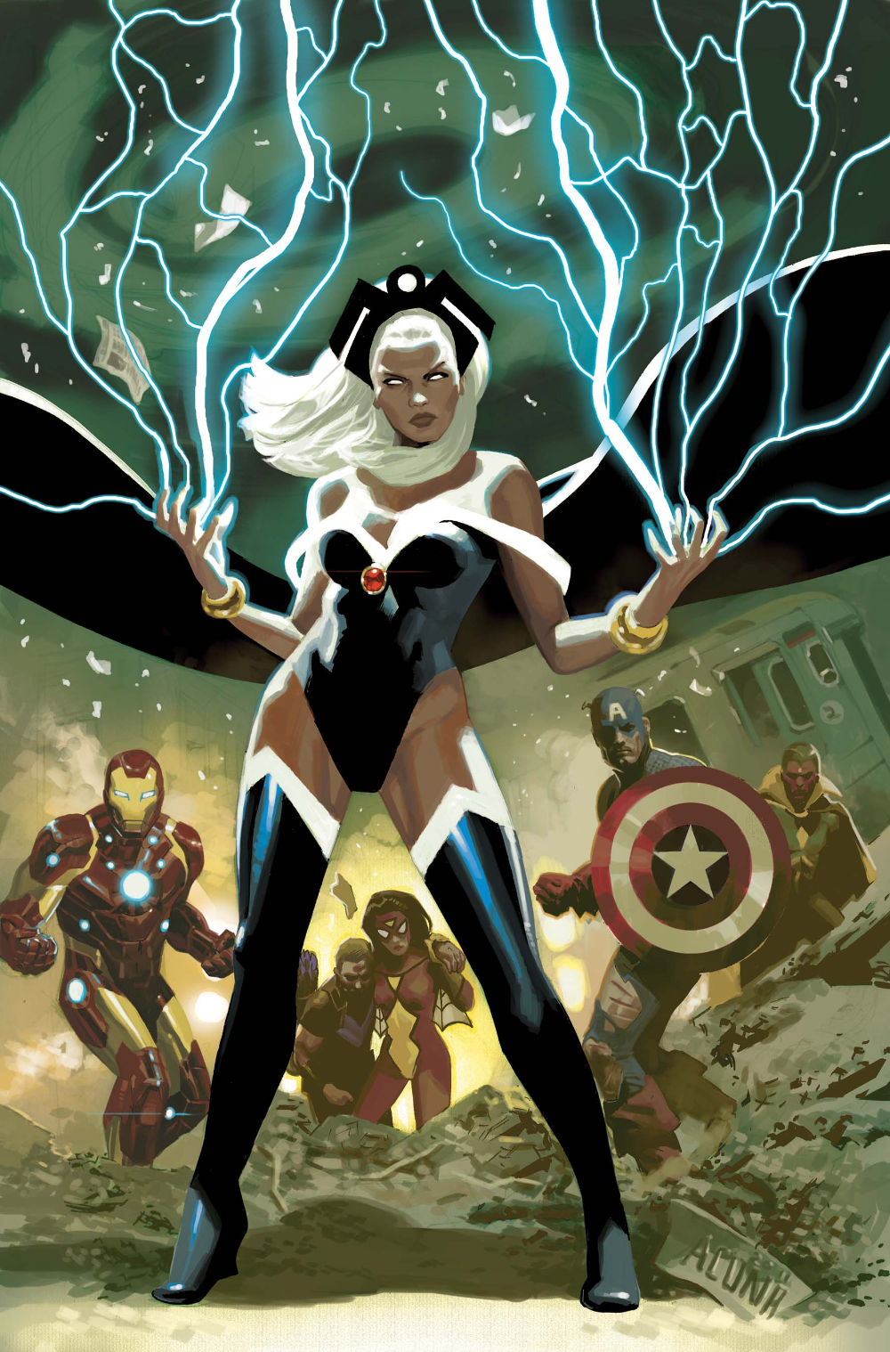 x-men characters, While Iron Man reinvented his armour multiple times, Storm could easily defeat him.