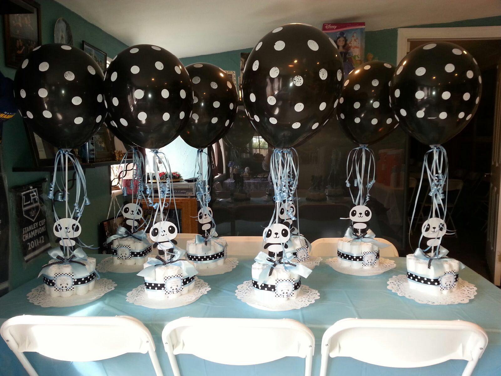 Panda Center Pieces Baby Shower Ideas In