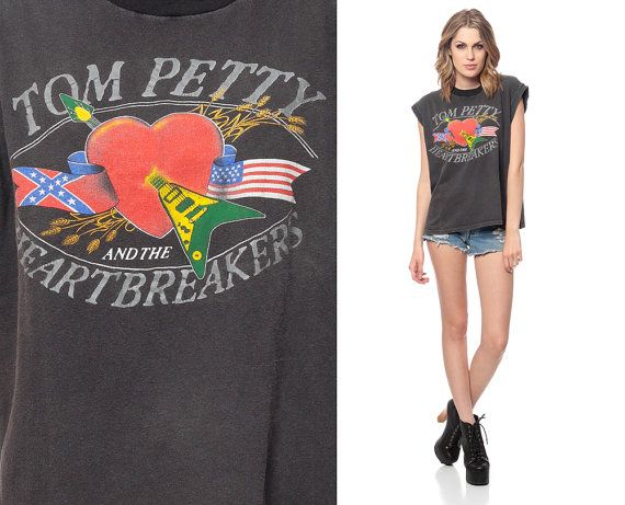 3947be31037da TOM PETTY Shirt 80s and the Heartbreakers Black Tank Top Southern ...