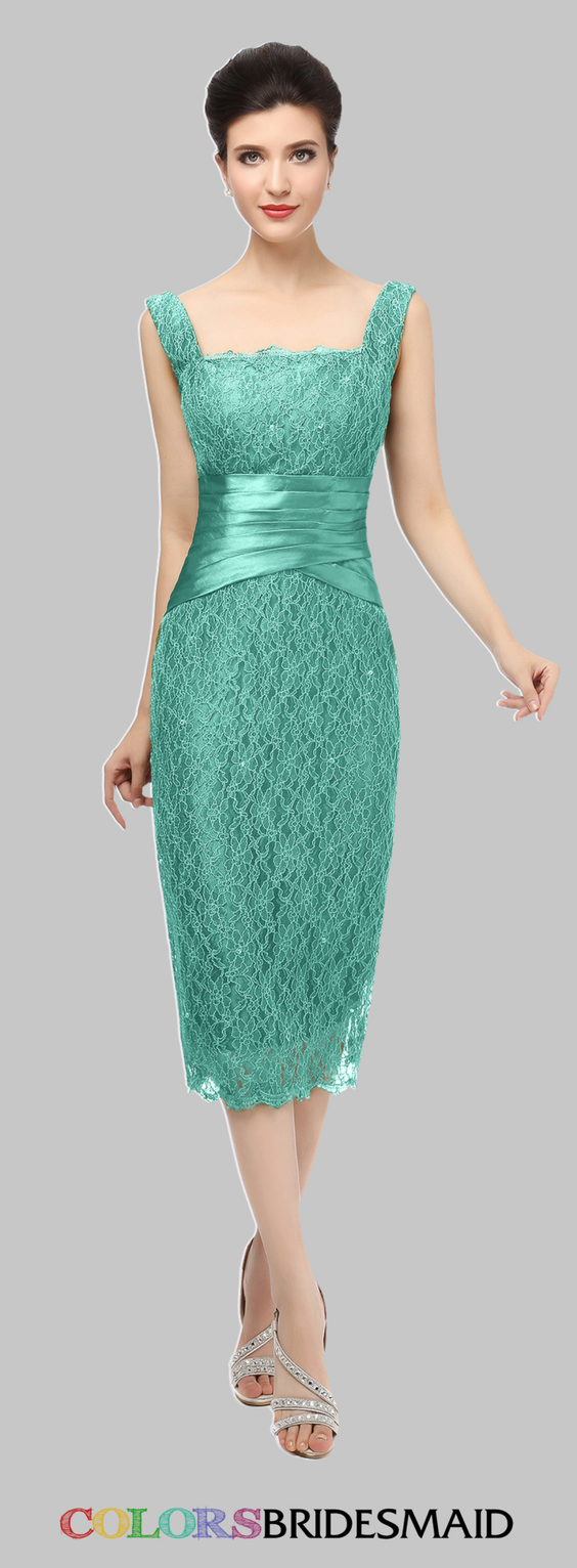This short satin bridesmaid dress with column style is sewn with ...