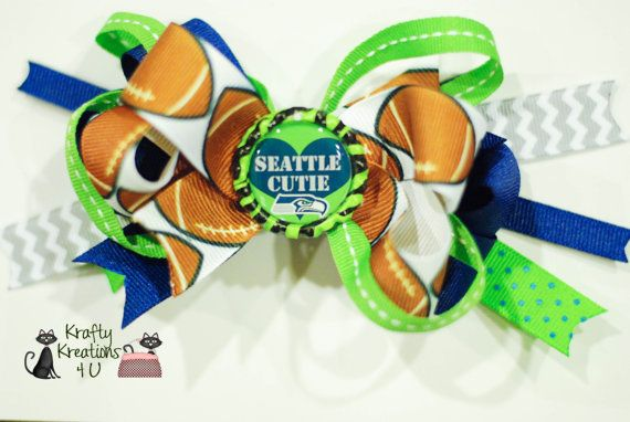 Seattle Seahawks Colorful Hair Bow Stacked by KraftyKreations4You