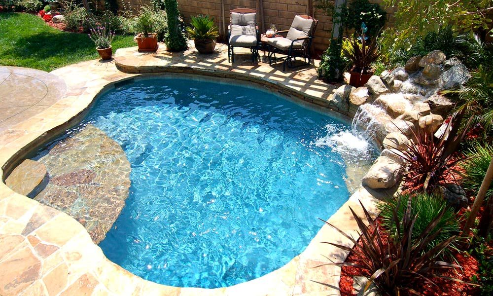 Spa pool spool spool with waterfall home pinterest for Swimming pool spa designs