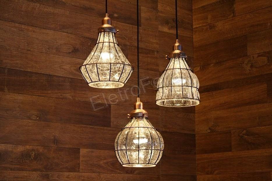 Lampade A Sospensione Allaperto : Kit pendentes cobre aramado vidro craquelado retro loft