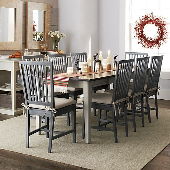 Village Grigio Wood Dining Chair Crate And Barrel In 2020 Rug Under Dining Table Rug Under Kitchen Table Extension Dining Table