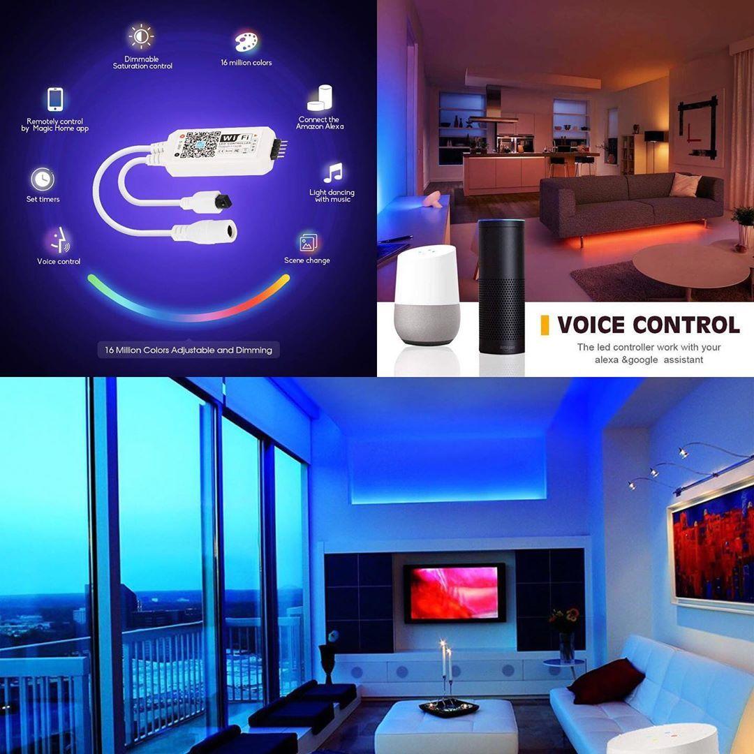 WiFi Smart RGB RGBW LED Strip Light Music Timer Controller For Google Alexa Home