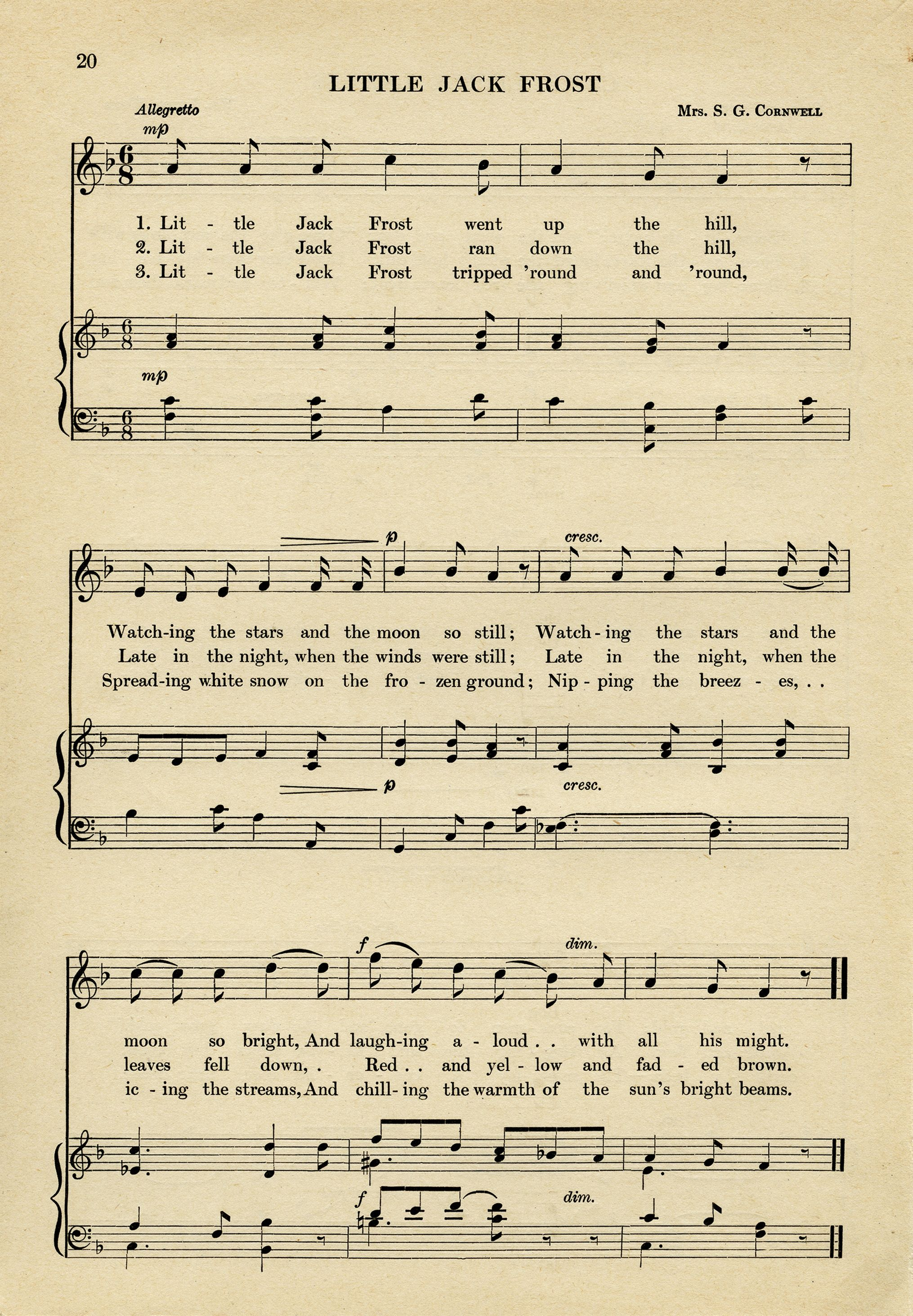 Free Vintage Ephemera Jack Frost Song Sheet Music Graphic Aged Paper Printable Old Music