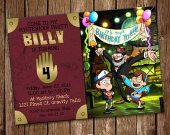 Invitación De Gravity Falls Digital Imprimible Invitan Fiesta De