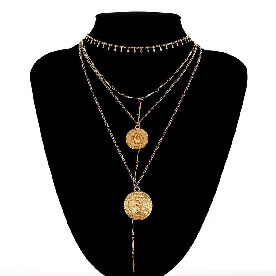 Photo of Multi Layer Adjustable Chain Couple Pendants Choker Necklace – Golden Color