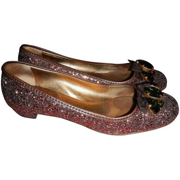 Pre-owned Glitter ballerinas (6.545 RUB) ❤ liked on Polyvore featuring shoes, flats, black, ballet flats, black shoes, ballerina shoes, miu miu flats and black ballet flats