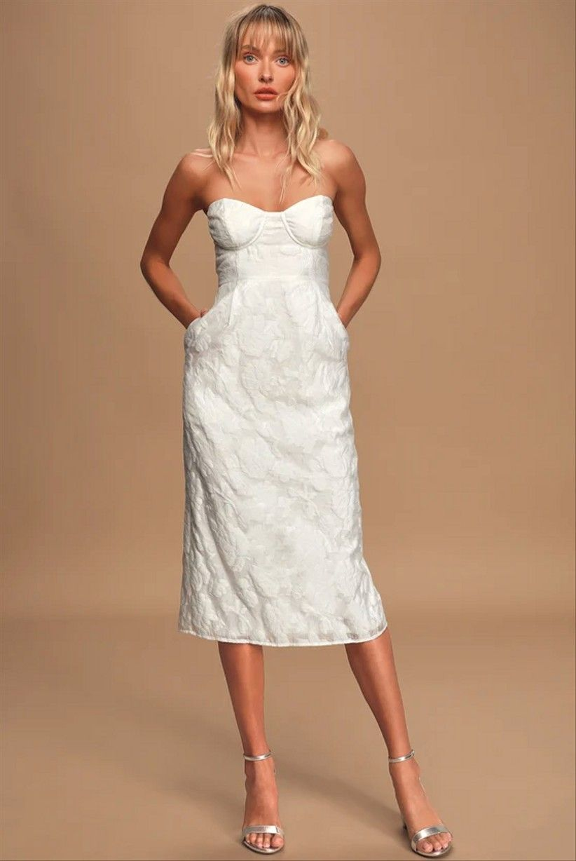 35 Beautiful Courthouse Wedding Dresses You Ll Love Strapless Midi Dress White Dresses For Women White Lace Midi Dress [ 1228 x 822 Pixel ]