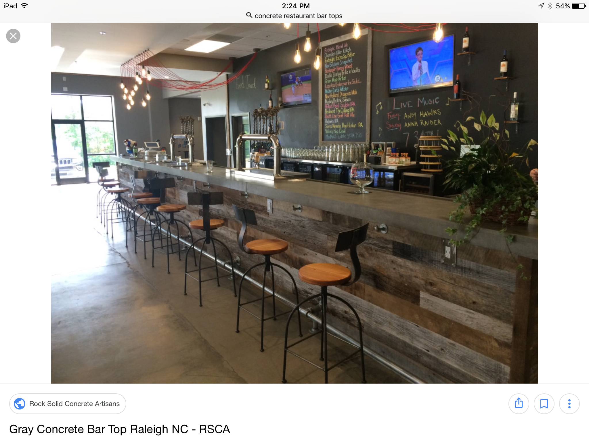 Concrete bartop with reclaimed wood | Concrete bar top ...