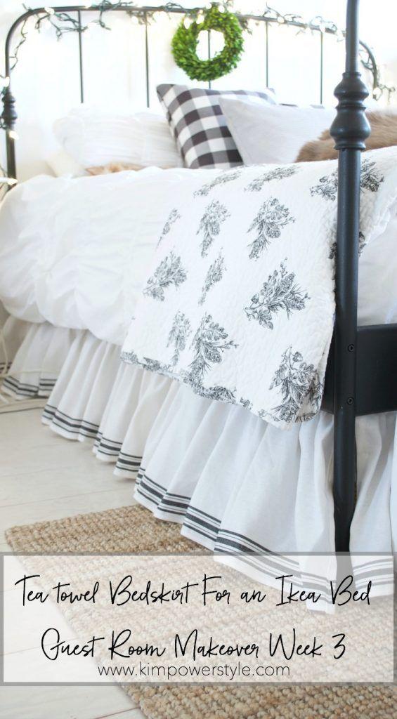 A tea towel bedskirt for an Ikea bed