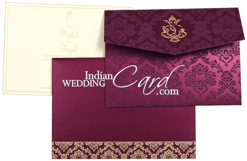 Deeppurple color pocketfold style hindu wedding card d