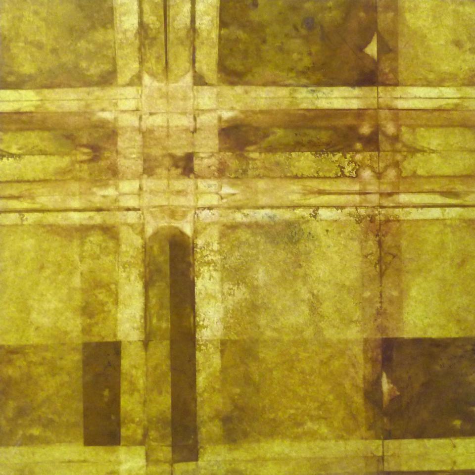 Stefan Philipps, multiple folding - Rost auf Japanpapier auf Leinwand, 90 x 90 cm, 2010