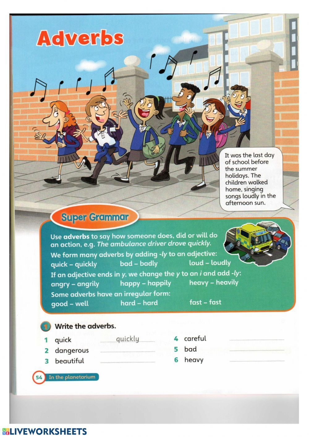 Adverb Interactive Worksheet In 2020 English As A Second Language Esl English As A Second Language Last Day Of School [ 1413 x 1000 Pixel ]