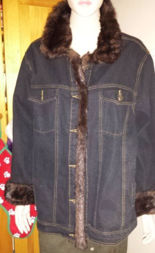 Dennis Basso faux fur and denim jacket size 1X