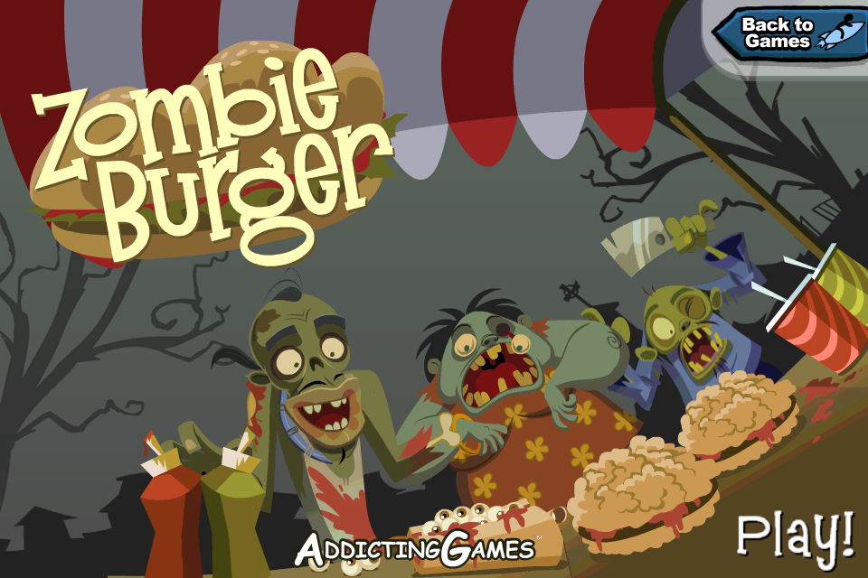 Title screen for the game Zombie Burger iOS from