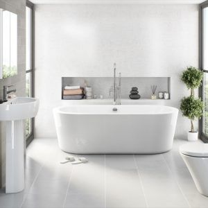Light Grey Tile Bathroom Floor