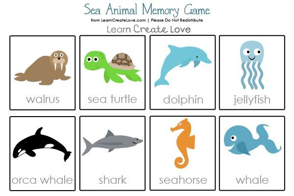 Sea Animals Printable Memory Game With Images Ocean Activities