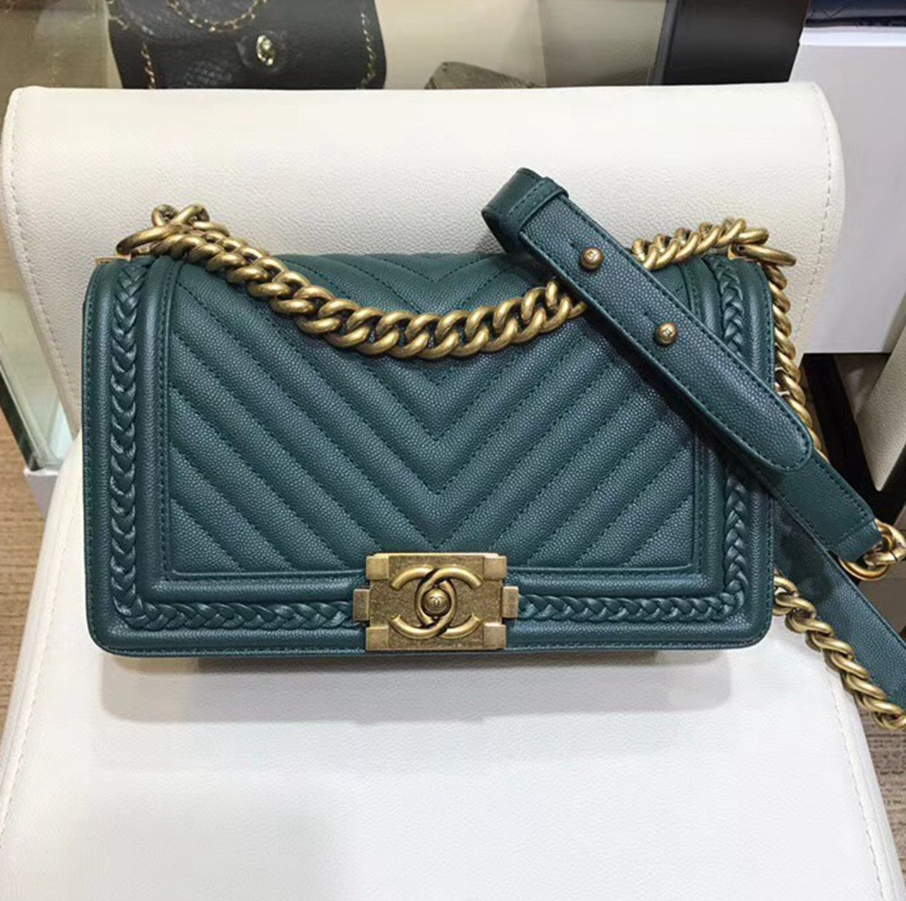 3ddfa4781b95 Chanel Chevron Boy Braided Old Medium Flap Bag A67086 Green Curise 2018