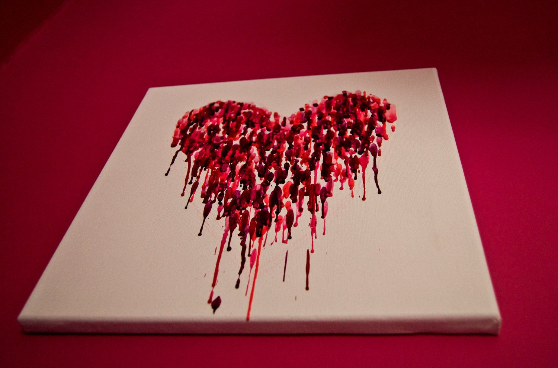 Heart Crayon Art On Canvas