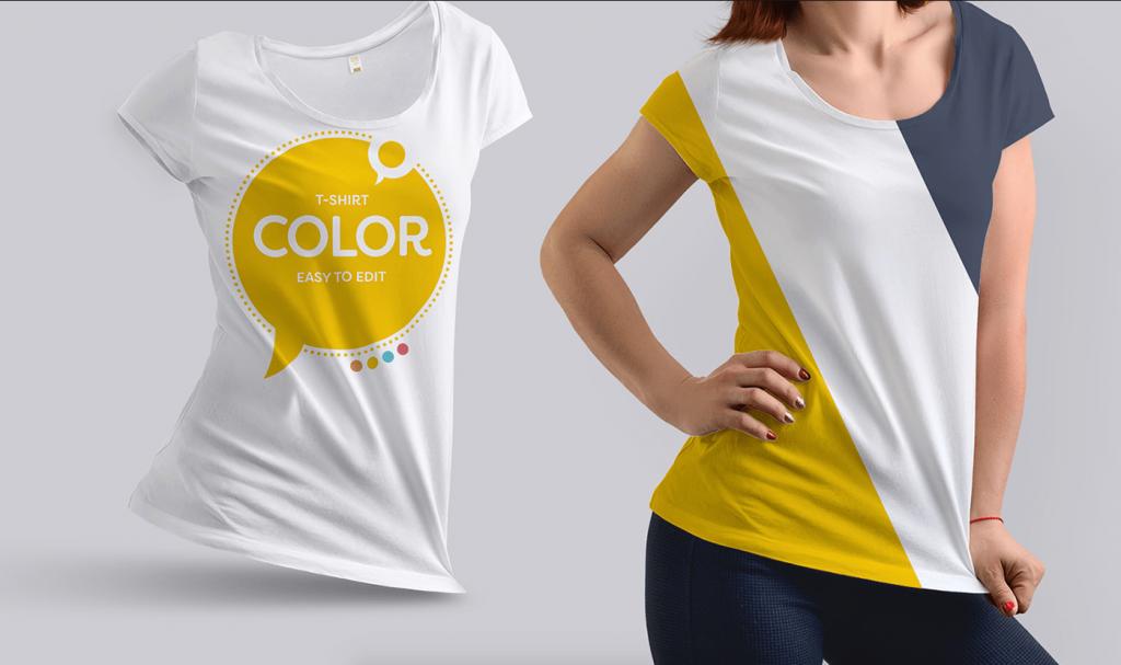 Download Girl Wearing T Shirt Realistic Free Mockup How To Wear Colorful Shirts Shirt Mockup