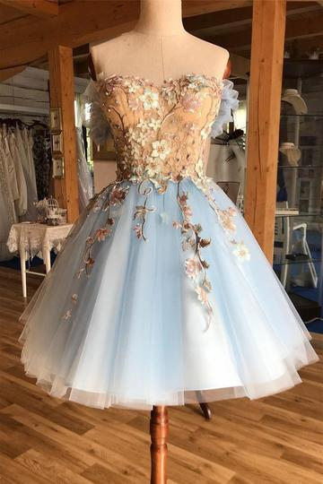 Light Sky Blue Sweetheart Appliques Short Prom Homecoming Dress OM182 #homecomingdresses