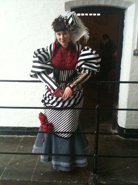 Licorice Swirl Striped Steampunk Corset Costume by SparkleyJem - Steampunk Steampunk Clothing - Smoked Glass Goggles