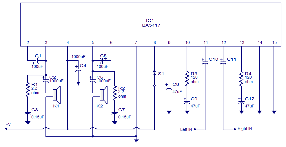 A simple stereo power amplifier circuit based on BA5417 from ROHM ...