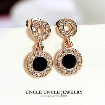 Cheap earrings rose gold, Buy Quality drop earrings directly from China  earrings designer Suppliers: Classic Black Round Woman Earring Rose Gold  Color ...