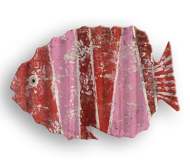 Big Red Fish Cutout Aluminum Corrugated Metal Sign