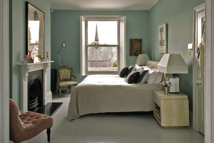 Beautiful Bedroom Painted In Duck Egg Blue. Contrast With Biscuit Coloured Carpet Or  Rugs Fireplace As Decorative Feature